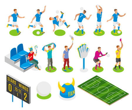 Football isometric icons set of fans gamers referee characters board with score of match vector illustration Illustration