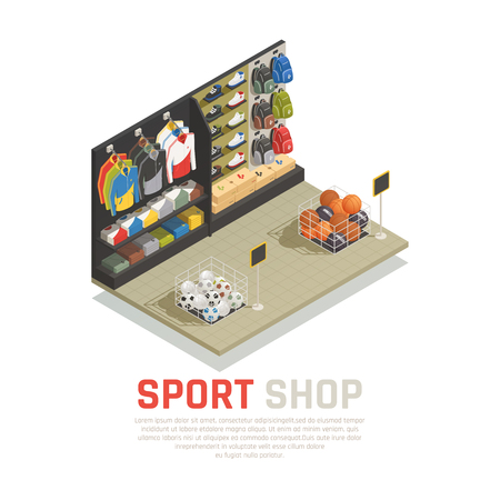Sport shop isometric composition shelves with back packs clothing and shoes gaming equipment vector illustration Foto de archivo - 103669558