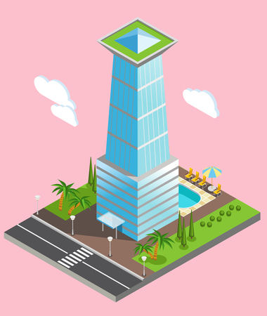 Isometric futuristic sky scraper from glass with environment infrastructure on pale pink background vector illustration