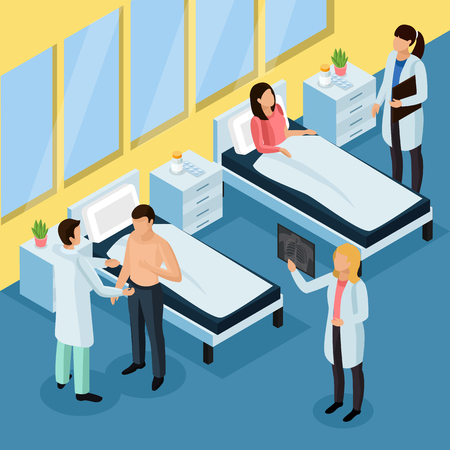 Tuberculosis prevention isometric background with hospital treatment symbols vector illustration