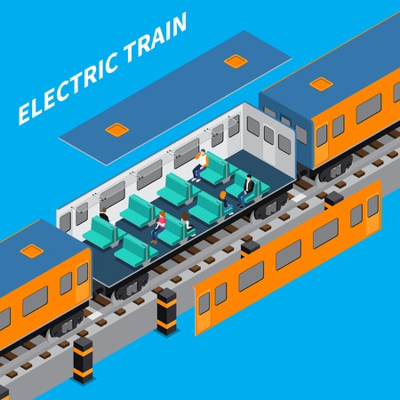 Electric train constructor isometric composition of carriage interior with sitting passengers vector illustration Illustration