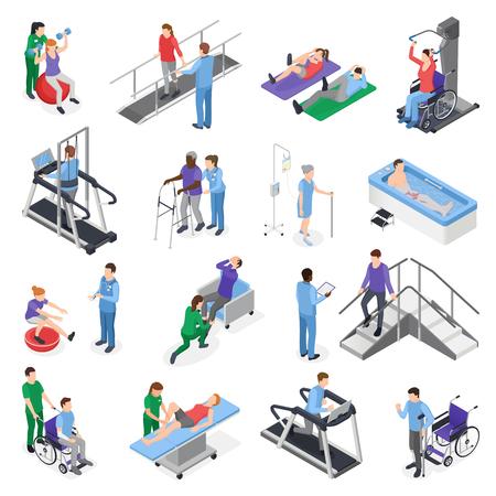 Izometryczne ikony kliniki rehabilitacji fizjoterapeutycznej zestaw z symulatorami sprzętu do leczenia personelu pielęgniarskiego odzyskiwanie pacjenta na białym tle ilustracji wektorowych