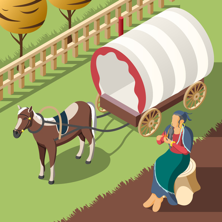 Gypsy customs isometric background with horse harnessed to wagon and romany woman sitting on stump vector illustration