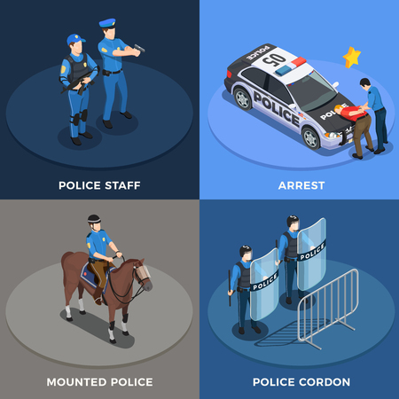 Police isometric concept icons set with arrest symbols isolated vector illustration Vettoriali
