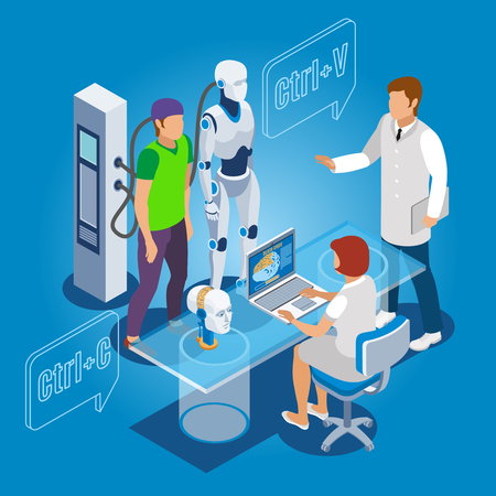Backup personality isometric composition with human identity being copied to droid with computer and health professionals vector illustration Illustration