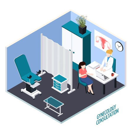Young woman during gynecology consultation isometric composition with medical equipment and interior elements vector illustration