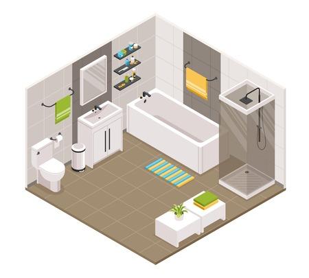 Badkamer interieur isometrische weergave met bad douchecabine cabine toilet wastafel eenheden handdoekhouders accessoires vector illustratie