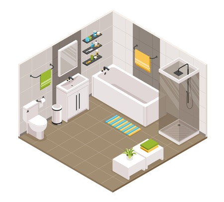 Vista isométrica interior del baño con cabina de ducha de baño cubículo inodoro lavabo unidades porta toallas accesorios ilustración vectorial