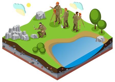 Composition isométrique d'exploration de la terre avec travaux de prospection sur terrain avec étang et formations rocheuses Vecteurs