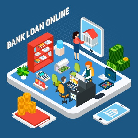 Loans isometric background composition with pieces of bank office furniture and clerks on top of tablet vector illustration