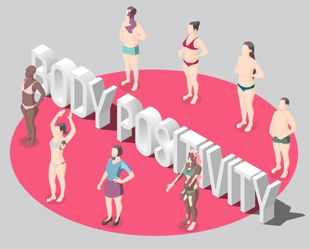 Body positivity isometric poster with people standing in red round dressed in swimsuits not hiding features of body vector illustration Illustration