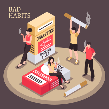 Smoking addiction isometric composition men and women with burning cigarette on dark background vector illustration Çizim