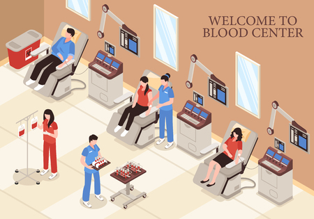 Blood center with donors in chairs modern medical technologies and professional staff isometric vector illustration