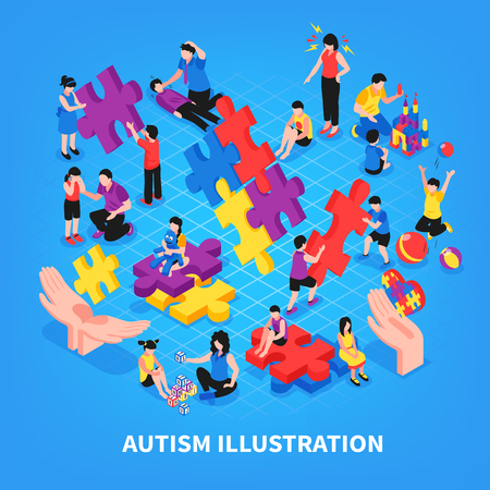 Kids with autism during game communication with parents learning and friendship on blue background isometric vector illustration