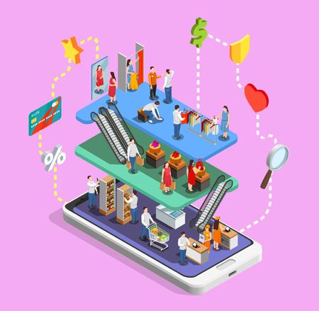 Online shopping isometric composition on lilac background with consumers in mall on mobile device screen vector illustration Stock Illustratie