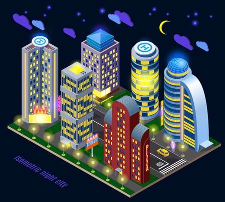 Night city with illuminated tall buildings and road infrastructure isometric composition on dark background vector illustration 向量圖像