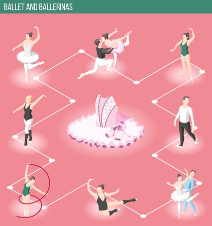 Ballet and ballerinas isometric flowchart with male and female dancers characters and dress accessories for theatrical performance vector illustration Illustration
