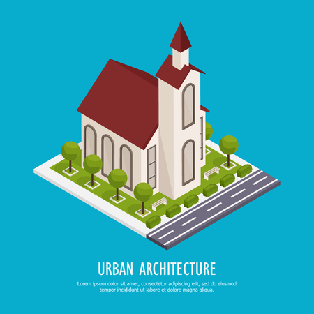 Urban architecture historical and modern public buildings isometric background poster with town cathedral parish church vector illustration 일러스트