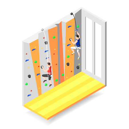 Extreme sports design concept with two male characters climbing up on training climbing wall with grips and holds isometric vector illustration