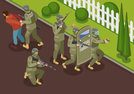 Military special forces during fighting terrorists isometric composition with detention of criminal vector illustration