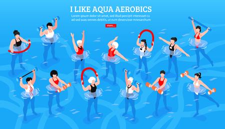 Frauen mit verschiedenen Ausrüstungsgegenständen während der Aqua-Aerobic-Klasse auf isometrischer horizontaler Vektorillustration des blauen Hintergrunds