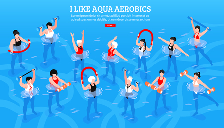 Women with various equipment during aqua aerobics class on blue background isometric horizontal vector illustration Illustration