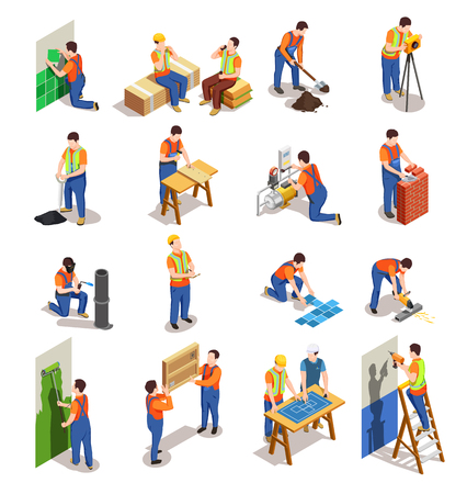 Construction workers with professional equipment during various building activity isometric people isolated vector illustration Çizim