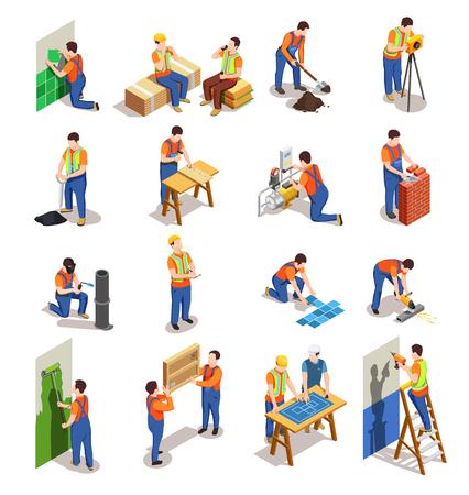Pracownicy budowlani z profesjonalnym sprzętem podczas różnych czynności budowlanych izometrycznych osób izolowanych ilustracji wektorowych