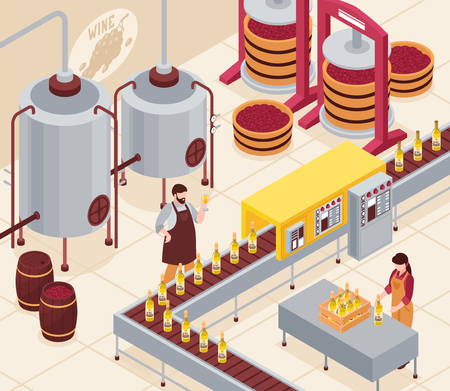 Wine manufacturing with pressing of grapes bottling conveyor and aging of drink in barrels isometric vector illustration