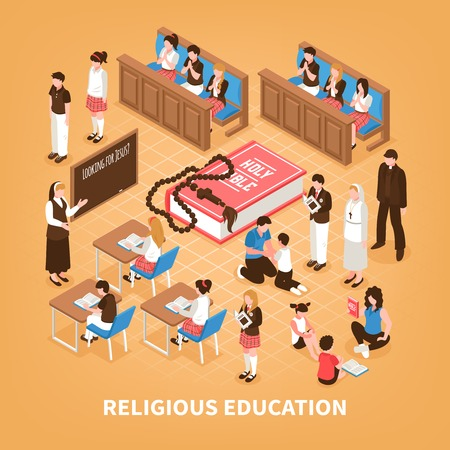 Religious education isometric composition sunday school for children bible reading at home prayer in church vector illustration