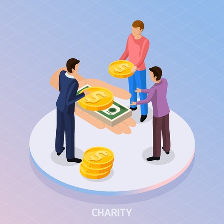 Sharing economy isometric background with conceptual composition of fundraiser characters and human hand with coins and banknotes vector illustration