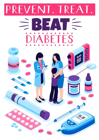 Beat diabetes isometric composition with treatment medication pills insulin injection and doctor advise on prevention vector illustration Banco de Imagens - 103876912