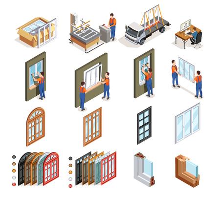 Iconos isométricos de producción de ventanas de pvc con trabajadores durante el diseño, fabricación, transporte e instalación, ilustración vectorial aislada