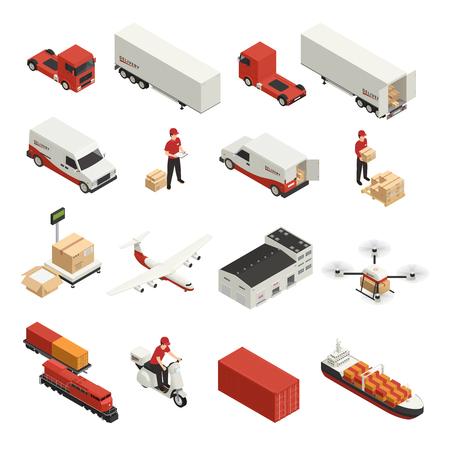 Izometryczne ikony transportu ładunku logistyczne dostawy przez różne pojazdy i technologię dronów na białym tle ilustracji wektorowych Ilustracje wektorowe