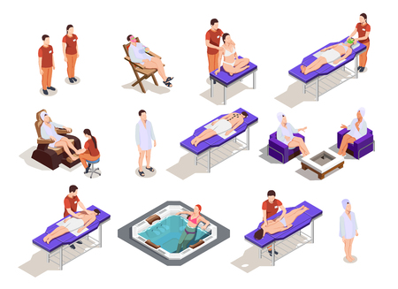 Spa salon isometric icons with customers and staff procedures for body and face care isolated vector illustration Illustration