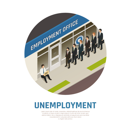 Jobless persons in queue to employment office and sitting man needing work isometric composition vector illustration Illustration
