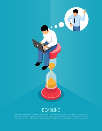 Isometric concept with sand clock and man working on computer and thinking about deadline 3d vector illustration Illustration