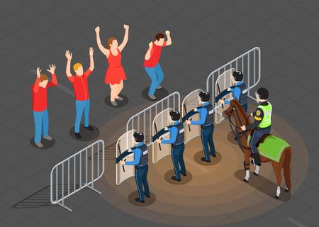 Fondo isométrico de policía y personas con ilustración de vector de símbolos de prevención de protestas Foto de archivo - 103876921