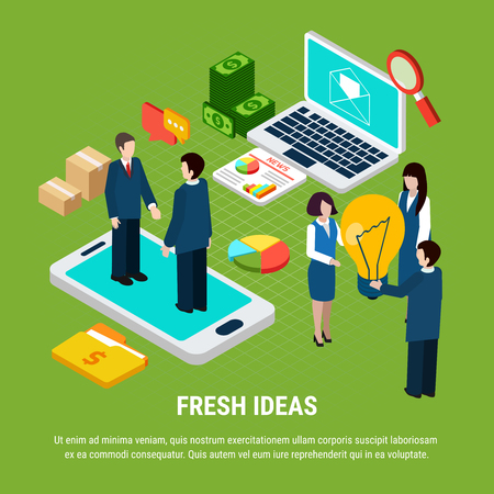 Digital marketing isometric concept with laptop smartphone and people sharing fresh ideas 3d vector illustration