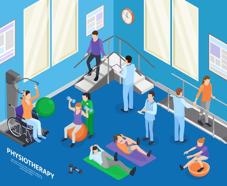 Physiotherapy rehabilitation facility clinic exercise hall speeding recovery physical activities with therapist session isometric composition vector illustration