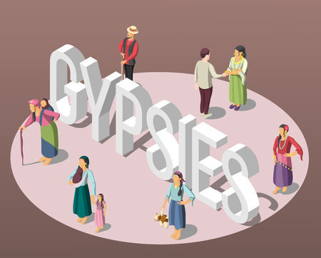 Gypsies isometric background with adults and children figurines standing on perimeter of circle vector illustration
