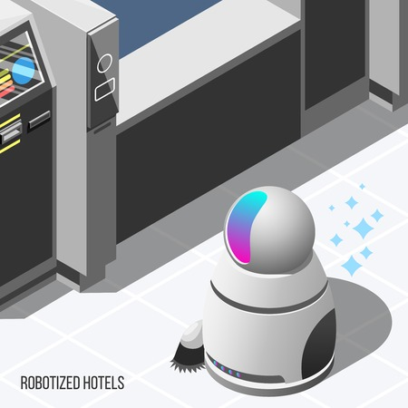 Robotized hotels isometric background with modern robotic cleaner and automatic machines used in hotel service vector illustration 向量圖像