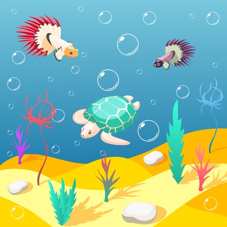 Inhabitants of underwater world isometric background with sand seabed exotic turtle and birds cartoon vector illustration