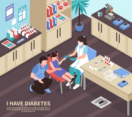 Diabetes medical treatment isometric composition with nurse giving insulin injection to patient girl in hospital vector illustration
