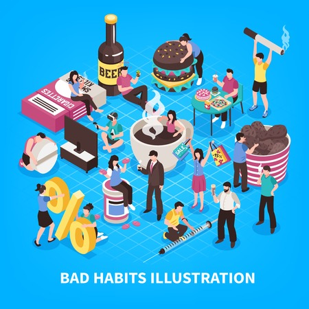 Harmful habits including abuse of coffee and fast food smoking gaming addiction blue background isometric vector illustration
