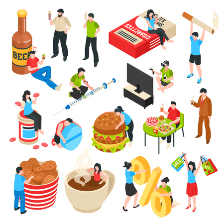 I personaggi umani con cattive abitudini alcol e droghe shopaholism icone isometriche fast food impostare illustrazione vettoriale isolato