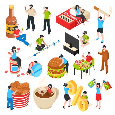Postacie ludzkie ze złymi nawykami zakupoholizm alkoholu i narkotyków izometryczne ikony fast food zestaw ilustracji wektorowych na białym tle