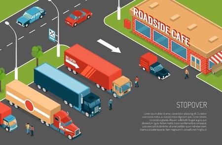 Delivery trucks stopover on parking zone near roadside cafe 3d isometric vector illustration