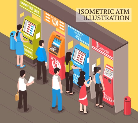 Automatic vending and telling machines isometric composition with people buying transport tickets and taking cash vector illustration