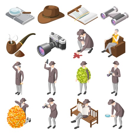 Classic detective isometric icons set of secret agents investigators police inspector characters and accessories isolated vector illustration